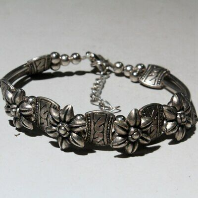 Collection China Tibet Silver Handwork Carve Flower Delicate Lucky Hand Catenary