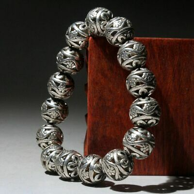 Collectable China Old Miao Silver Handwork Carve Hollow Out Flower Chic Bracelet