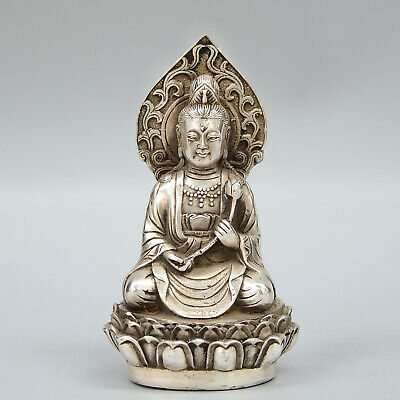 Collectable China Tibet Handwork Miao Silver Carve Kwan-yin Lotus Lucky Statue