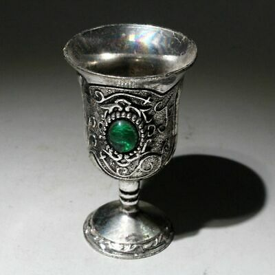 AAA Collectable Old Miao Silver Mosaic Agate Hand-Carved Delicate Royal Wine Cup