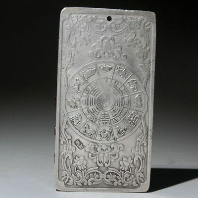 Collectable China Old Miao Silver Carve 12 Zodiac Horse Exorcism Amulet Pendant
