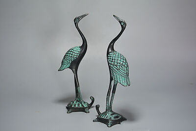 Collect Old Bronze Hand-Carved Crane Trample Tortoise A Pair Auspicious Statue