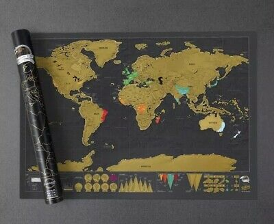 Small Scratch Off World Map Deluxe Edition Travel Log Journal Poster Wall Xmas &