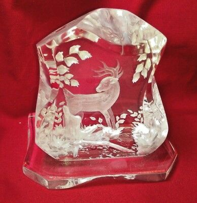 SOLID Lucite Acrylic Sculpture, Hand Carved Deer Scene Signed By Artist