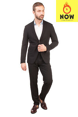 RRP €285 DOMENICO TAGLIENTE Suit Size 50 / L Black Single Breasted Notch Lapel
