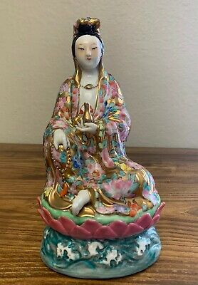 Antique Hand Painted Chinese Famille Rose Porcelain Statue Guan Yin Figurine