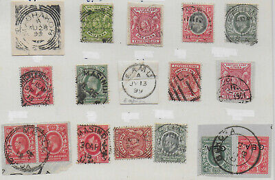 15x British East Africa postmarks QV/KEVII ½/1 anna KGV 3c/6c 1890s-1918 stamps