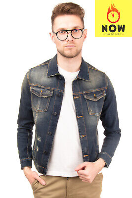 RRP €200 MESSAGERIE Denim Jacket Size S Worn Look Distressed Style Made in Italy