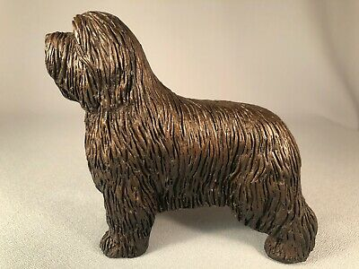Tony Acevedo Cold Cast Bronze Bearded Collie Dog In Show Pose, Gorgeous!