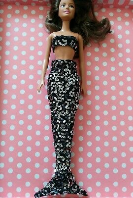 NEW ~ Barbie doll mermaid tail black/silver sequins costume. Lovingly handmade