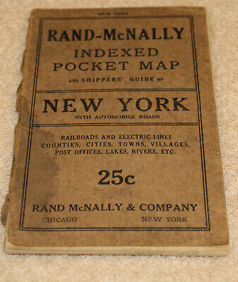 Rand McNally Indexed Pocket Map & Shipping Guide-New York w/Automobile Roads1916