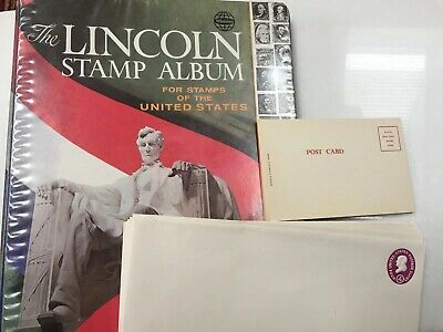Whitman Lincoln Stamp Album Stamps of the US. Bonus: Ten 1 Cent Postcards & More