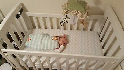 Baby safe classic cot solid wood white EUC
