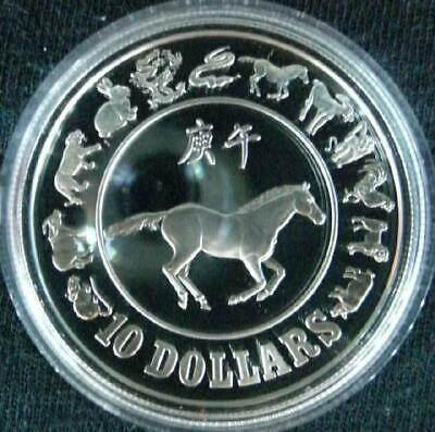 1990 SINGAPORE LUNAR HORSE 1 oz STERLING SILVER PROOF COIN