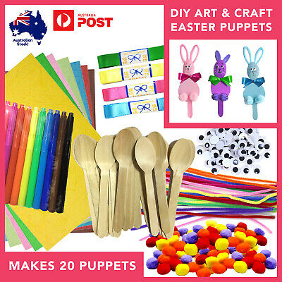 Kids DIY Easter Puppets Craft Activity Kit Wooden Spoon Bunny Rabbit Project