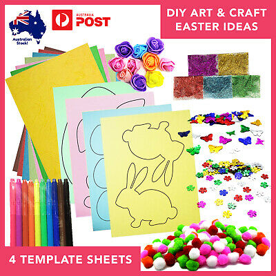 DIY Easter Themed Art & Craft Kit for Kids Decorating Egg and Bunny Templates x4