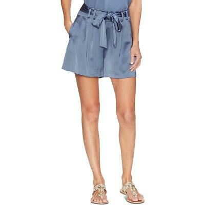 Vince Camuto Womens Blue Satin Paper bag Waist Belted Shorts 12 BHFO 2888