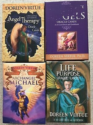 Lot Of 4 Doreen Virtue oracle cards Decks W/ Guide Books. OOP.