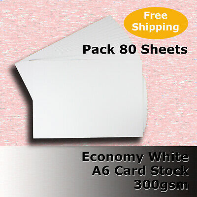 80 x WHITE A6 Size 300gsm Economy Card Stock General Purpose #H5502 #DLHH