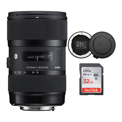 Sigma 18-35mm F1.8 Art DC HSM Lens for Canon Cameras w/ USB dock & 32GB SD Card