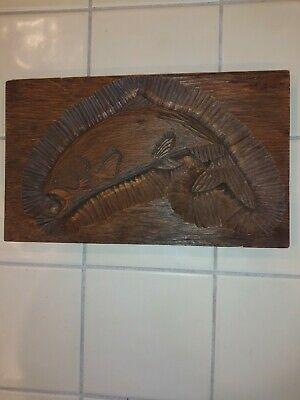 Vintage Folk Art Hand Carved  Fish Salmon