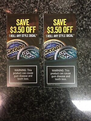 (2) Skoal Tobacco Coupons ~ $3.50 Off 1 Roll Any Style ($7 value) Exp 5/02/20