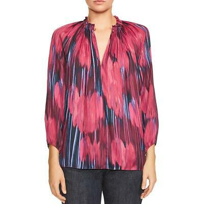 Halston Womens Pink Printed Pleated V-Neck Blouse Top L BHFO 7677