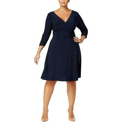NY Collection Womens Navy Ruched A-Line Party Cocktail Dress Plus 2X BHFO 9167