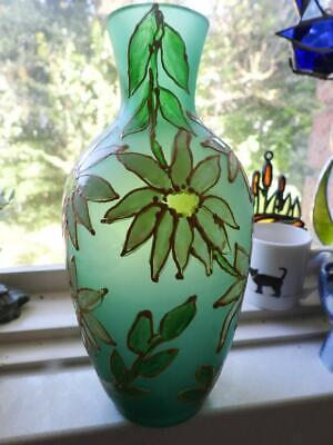Art Nouveau Cameo Glass Vase - Mint Green with Hand Painted Flowers - Signed