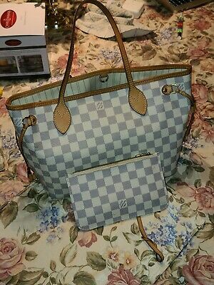 Louis Vuitton Neverfull PM Damier Azur Tote Bag PVC Leather White With Clutch