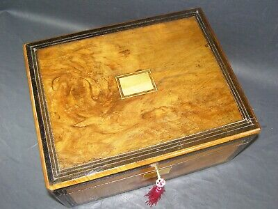 No Delivery Problems! Antique Walnut Document Box Working Lock & Key c1870