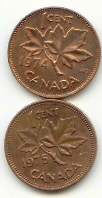 Canada 1974 and 1975 Pennies Canadian 1 Cent Coins  EXACT SET SHOWN