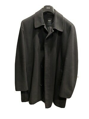 HUGO BOSS Men's Size 42R Wool Cashmere Jacket Overcoat Black Excellent