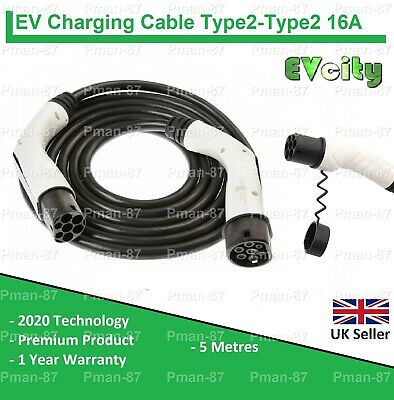 PREMIUM TESLA MODEL S TYPE 2 to TYPE 2 EV CHARGING CABLE 16A 5m - ELECTRIC