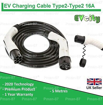PREMIUM VOLKSWAGEN GOLF GTE TYPE 2 to TYPE 2 EV CHARGING CABLE 16A 5m - VW