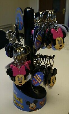 3 x DISNEY CHILDREN'S MICKEY MOUSE/MINNIE MOUSE KEYRINGS AND STAND (JOB LOT)