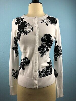 Charter Club White and Black Floral Cardigan - Size XS - NWT