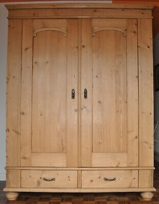 ANTIQUE LARGE PINE DOUBLE WARDROBE ARMOIRE 1800s - Dismantles