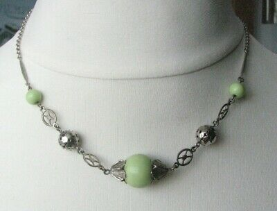 Vintage Deco Jakob Bengel Chrome & Green Glass Beads Necklace