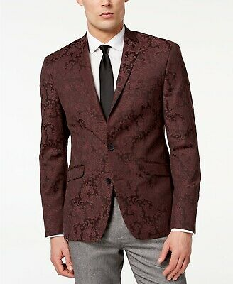 $295 Kenneth Cole Slim-Fit Stretch Paisley Dinner Jacket Mens 40R 40 NEW