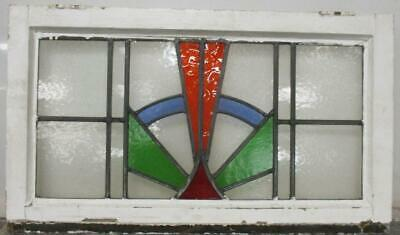 "OLD ENGLISH LEADED STAINED GLASS WINDOW TRANSOM Colorful Sunburst 28"" x 16.25"""