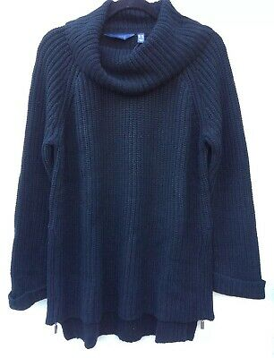 Ruth Langsford Chunky Knit Roll Neck Sweater with Side Zip Detail Black Size 3XL