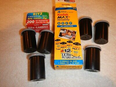 Kodak MAX 35 mm Film 6 Rolls 24 exposures each all Expired - one Ritz roll