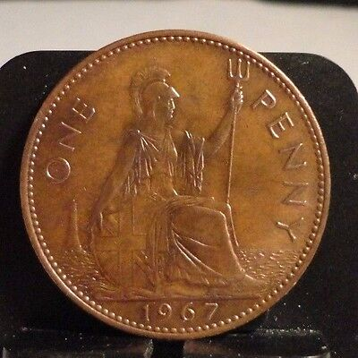 Circulated 1967 1 Penny Uk Coin (110616)1