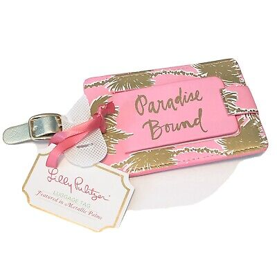 Lilly Pulitzer Luggage Travel ID Tag In Metallic Palm NWT Pink Gold
