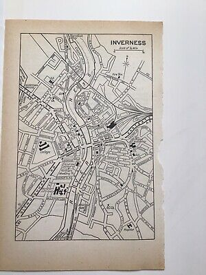 INVERNESS, 1968 Vintage Road Street Map, Church, Railway, College, Post Office