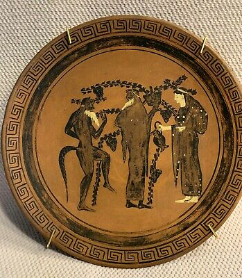 """Vintage Red Clay 8.25"""" Greek Roman Ancient Plate Signed (ESTATE SALE FIND)"""