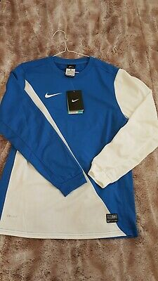 Boys Girls Unisex Blue White Nike Dri Fit Junior Long Sleeved Sports Top 12-13y