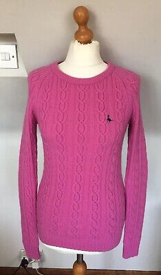 Jack Wills Ladies Pink Classic Knitted Jumper Size 10 Uk