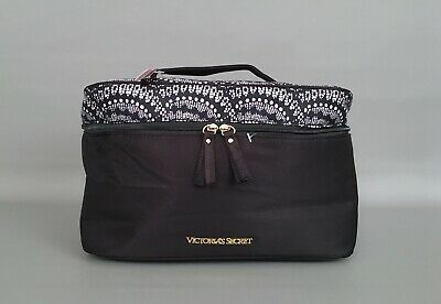 NWT $70 Victoria's Secret Black & White Bra Panty Lingerie Travel Case Bag-Pouch